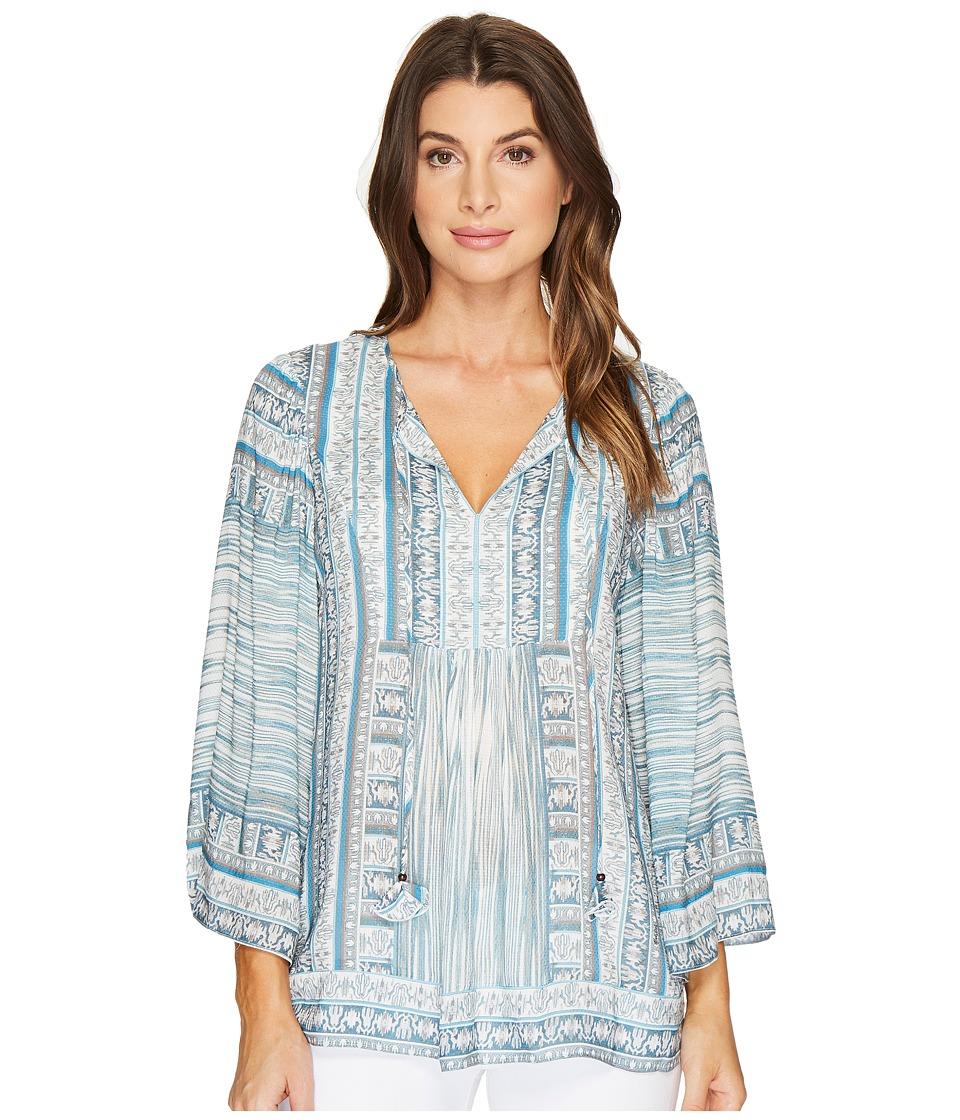 Hale Bob - Pretty Brilliant Rayon Dot Woven Long Sleeve Top (Grey) Women's Clothing