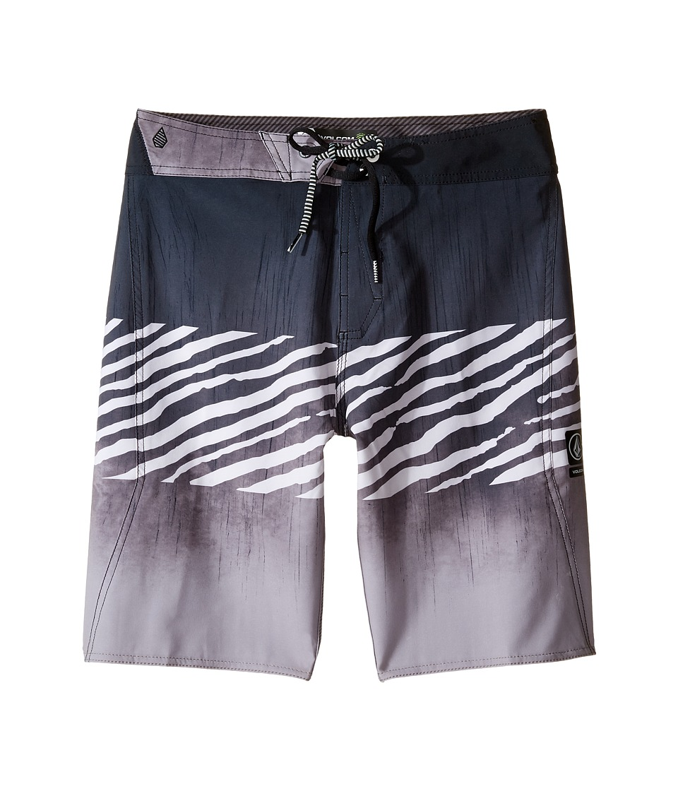 Volcom Kids Macaw Mod Boardshorts (Big Kids) (Black/White 2) Boy