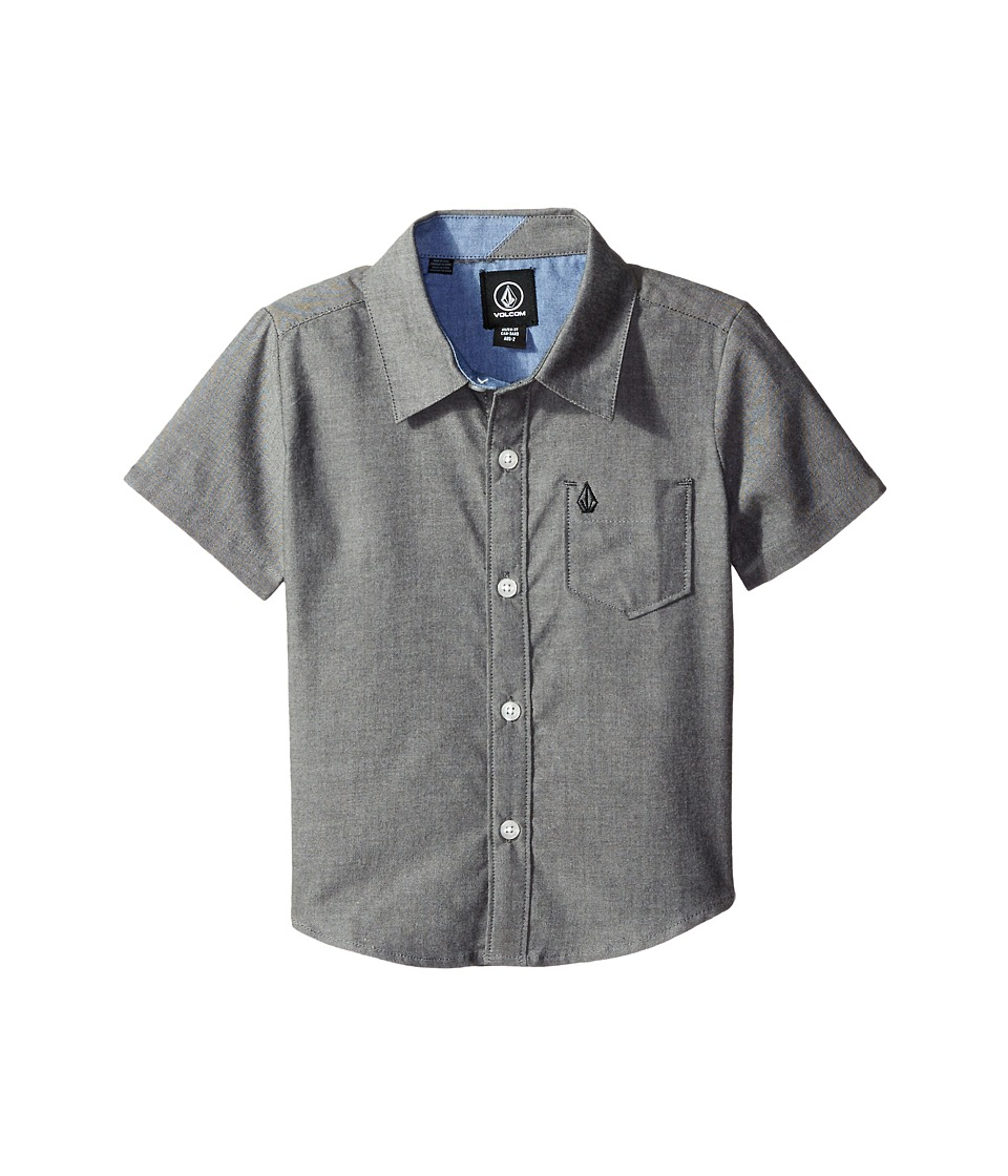 Volcom Kids - Everett Oxford Short Sleeve Shirt (Toddler/Little Kids) (Black) Boy's Clothing