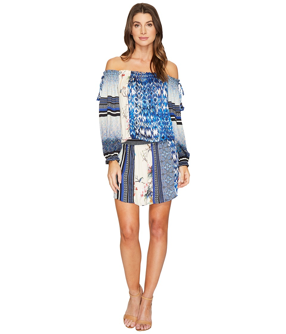Hale Bob A Match Made in Heaven Rayon Stretch Satin Woven Off the Shoulder Dress (Blue) Women