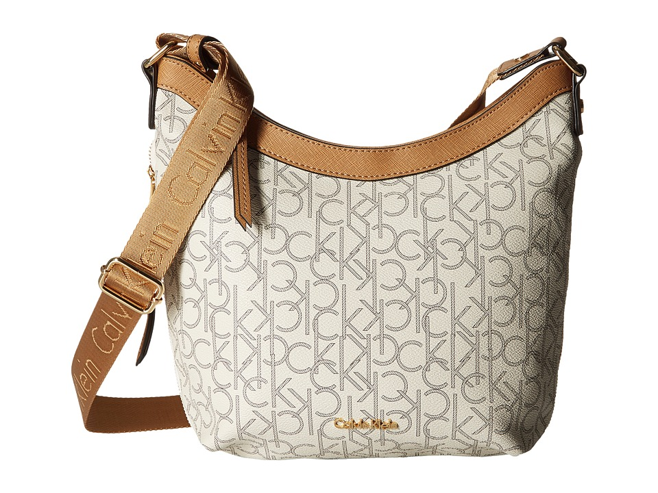 Calvin Klein - Hudson Monogram Messenger (Almond/Khaki/Cashew) Messenger Bags