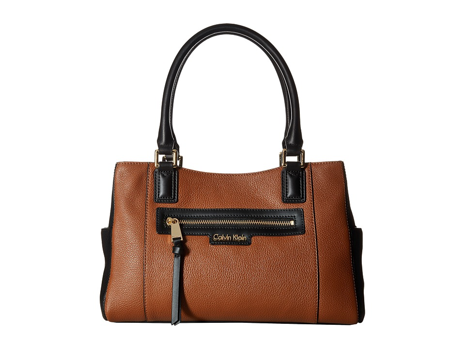 Calvin Klein - Classic Pebble Satchel (Luggage/Black) Satchel Handbags