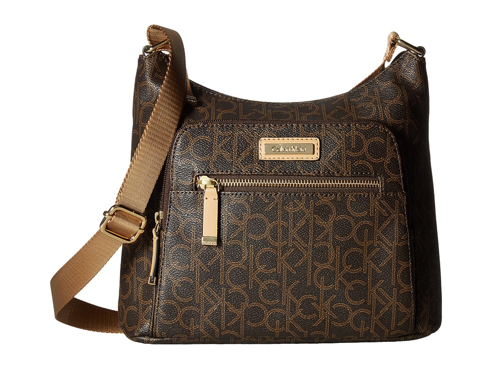 Calvin Klein - Hudson Monogram Messenger (Brown/Khaki/Camel 2) Messenger Bags
