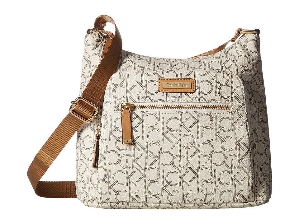 Calvin Klein - Hudson Monogram Messenger (Almond/Khaki/Camel) Messenger Bags