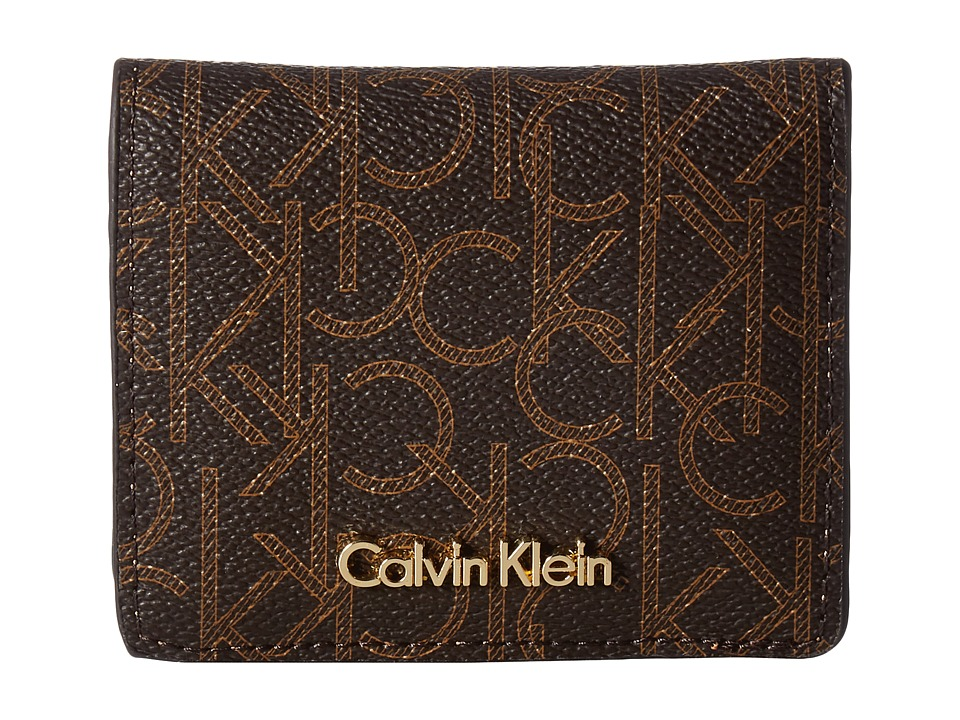 Calvin Klein - Small Half Flap Monogram Wallet (Brown/Khaki/Camel) Wallet Handbags