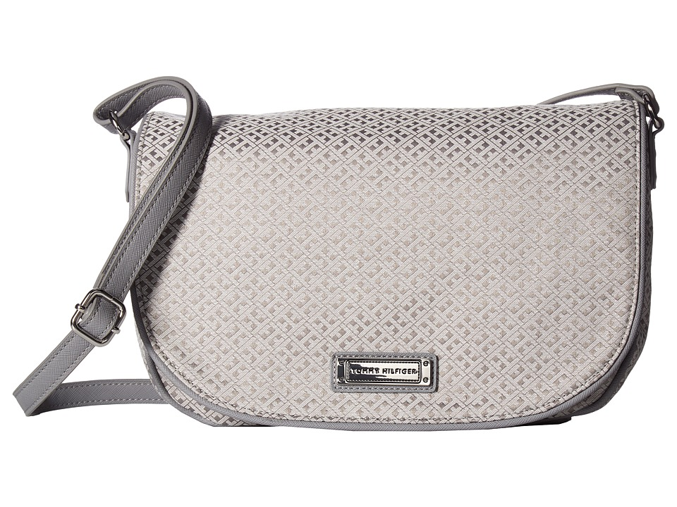 Tommy Hilfiger - Josephine II LG Saddle Bag (Gray/Tonal) Cross Body Handbags