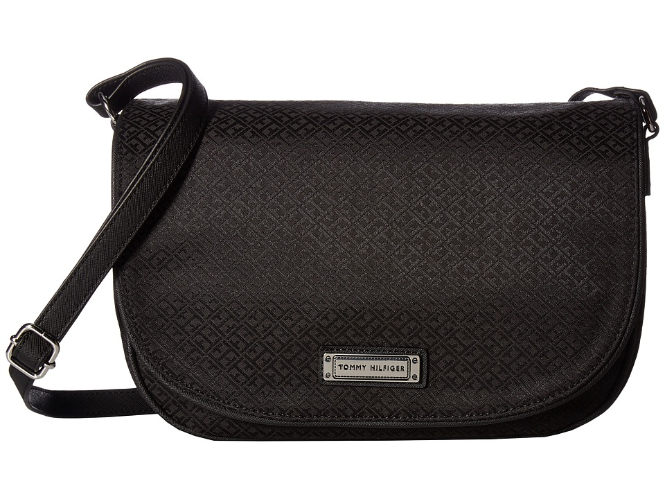 Tommy Hilfiger - Josephine II LG Saddle Bag (Black Tonal) Cross Body Handbags