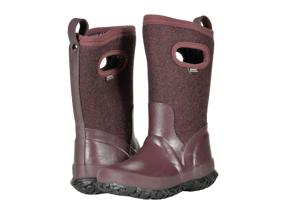 Bogs Kids Crandall Wool (Toddler/Little Kid/Big Kid) (Plum) Girls Shoes