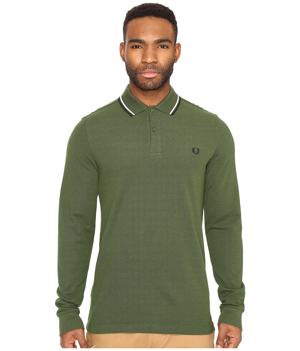 Fred Perry - Long Sleeve Twin Tipped Shirt (Hunting Green Oxford/Ecru/Black) Men's Clothing