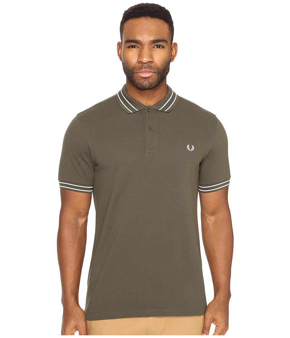 Fred Perry - Tramline Tipped Pique Shirt (Dark Fern) Men's Clothing