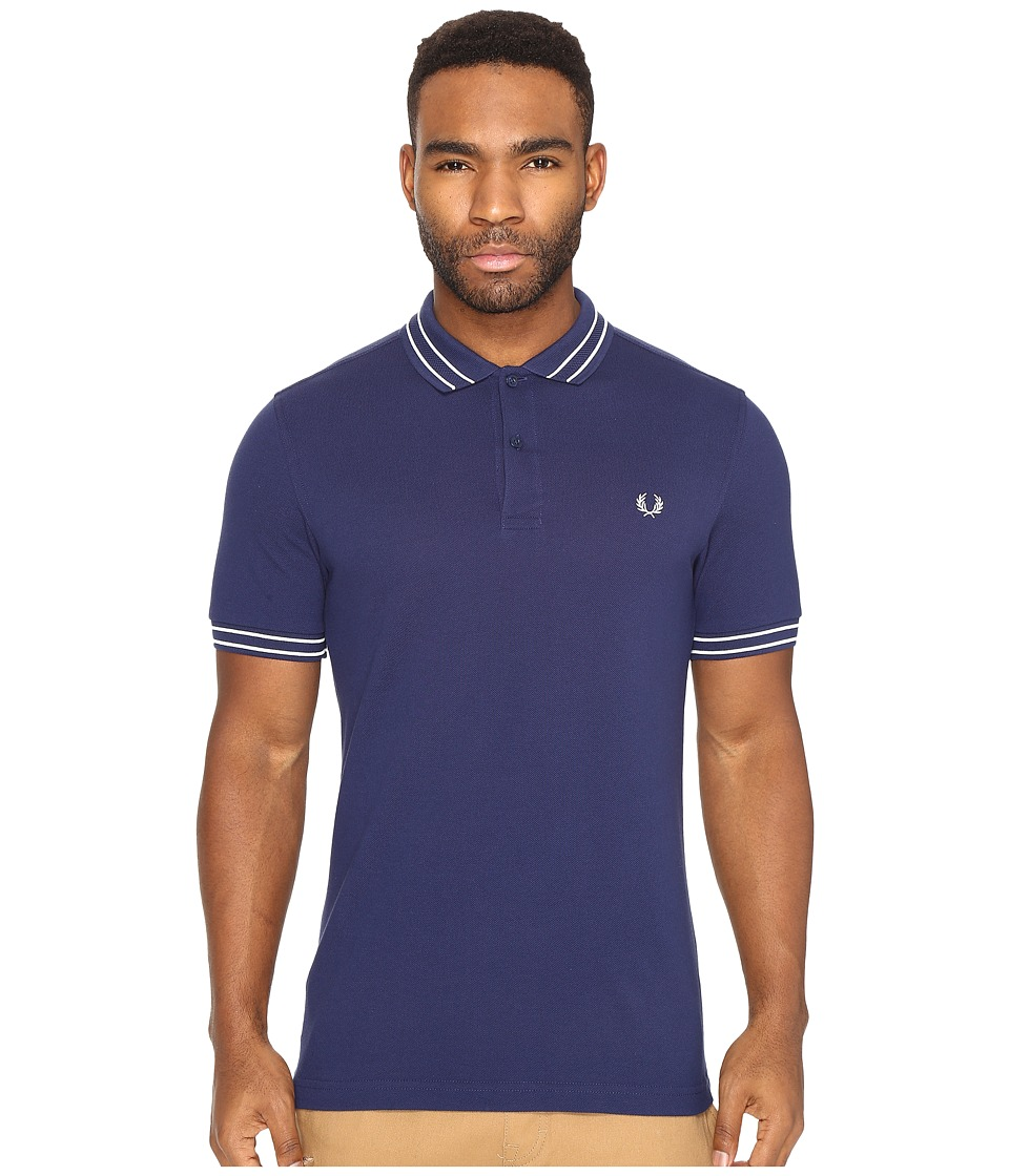 Fred Perry - Tramline Tipped Pique Shirt (French Navy) Men's Clothing