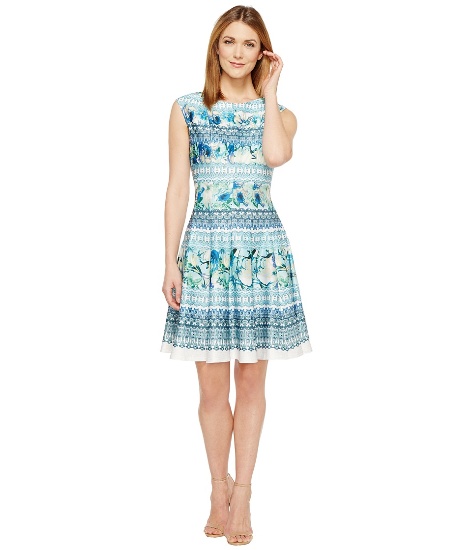 Christin Michaels Frances Cap Sleeve Fit and Flare Dress (Blue/Green) Women