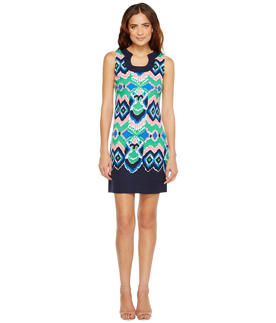 Christin Michaels - Yvonne Sleeveless Printed Dress (Navy/Multi) Women's Dress