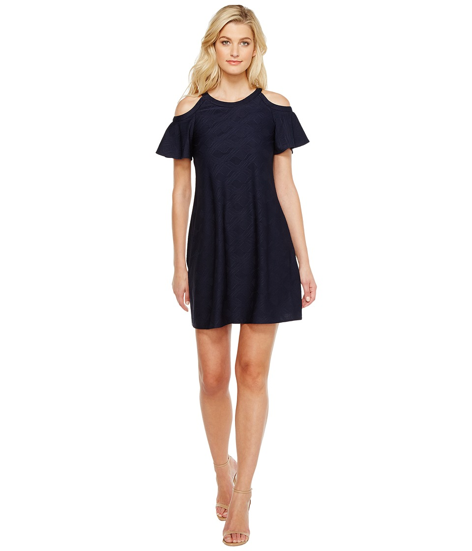 Christin Michaels - Phoebe Cold Shoulder Dress (Navy) Women's Dress