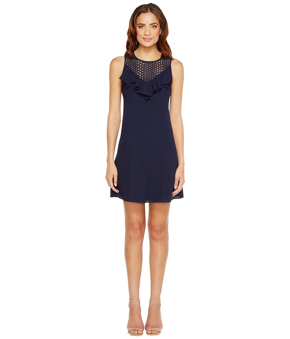 Christin Michaels - Nadine Sleeveless Ruffle Dress with Lace Detail (Navy) Women's Dress
