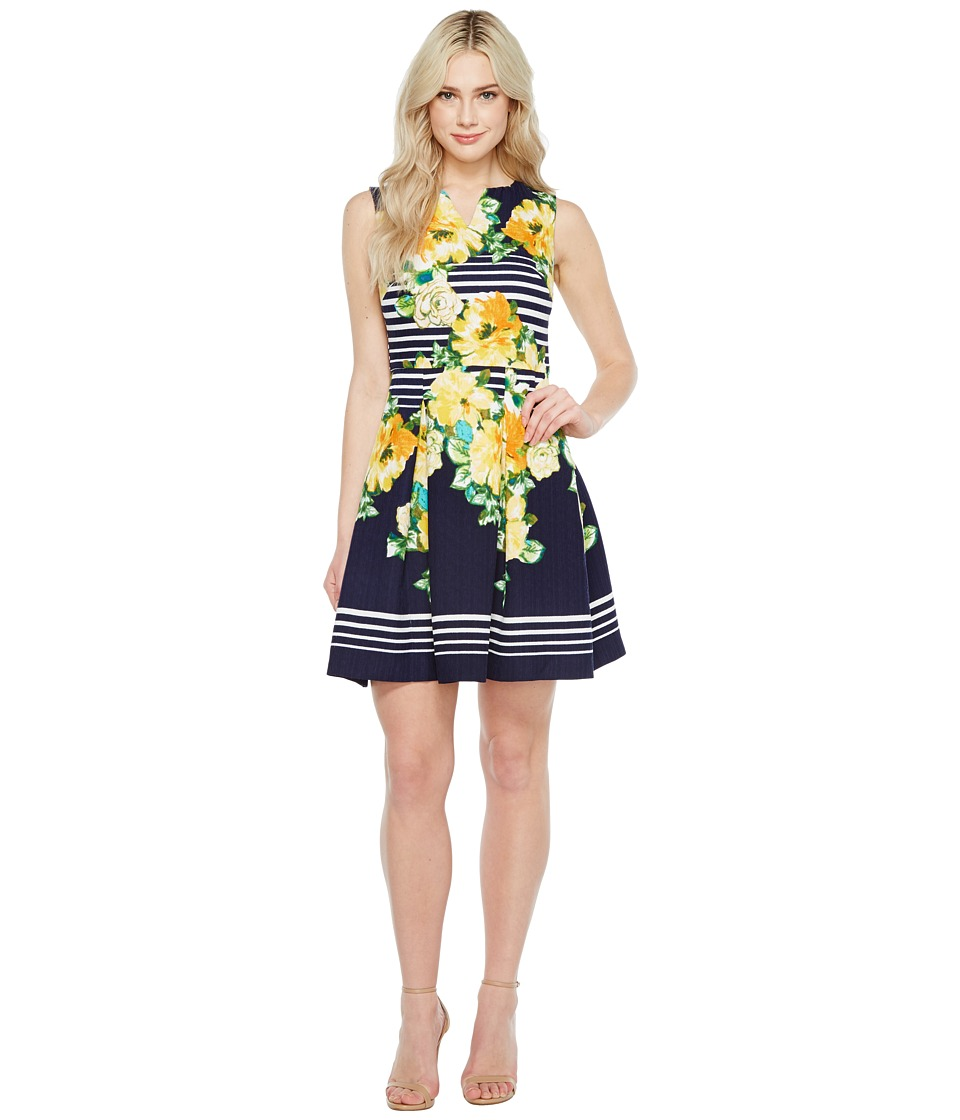 Christin Michaels - Florence Sleeveless Fit and Flare Dress (Navy/Yellow) Women's Dress
