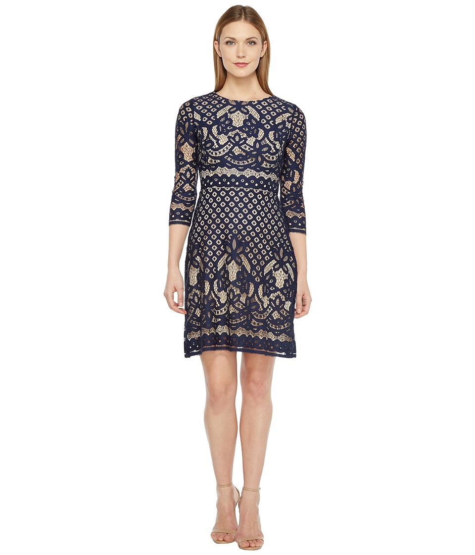 Christin Michaels - Maxine 3/4 Sleeve Lace Dress (Navy/Nude) Women's Dress