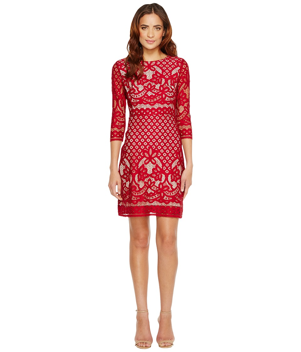 Christin Michaels - Maxine 3/4 Sleeve Lace Dress (Garnet/Nude) Women's Dress
