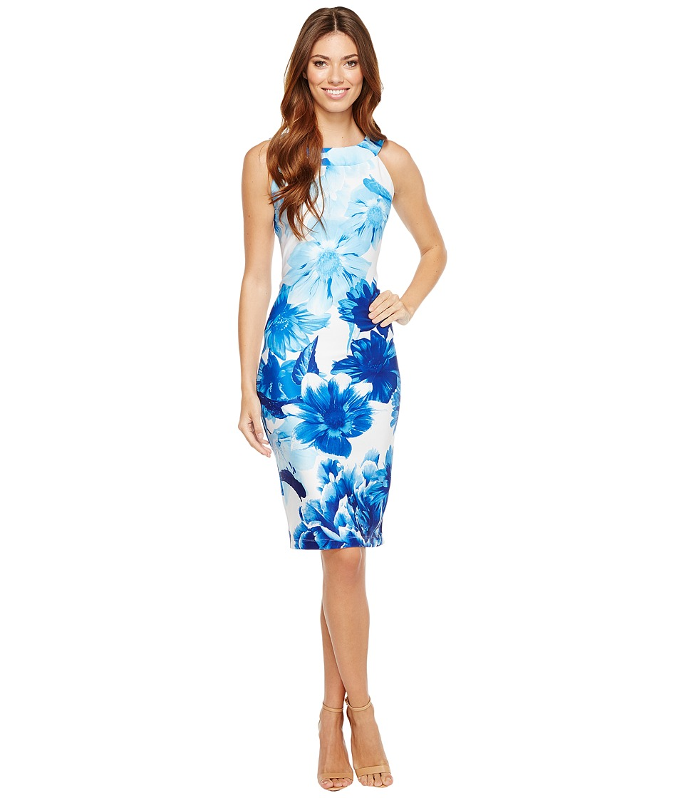 Christin Michaels - Vera Sleeveless Bodycon Dress (Blue/Ivory) Women's Dress