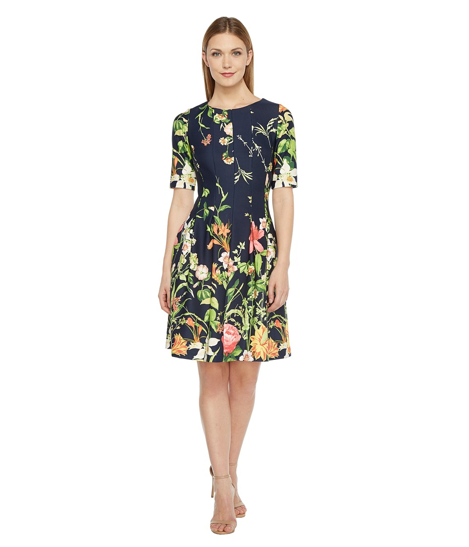 Christin Michaels - Elise 3/4 Sleeve Fit and Flare Dress (Navy/Multi) Women's Dress