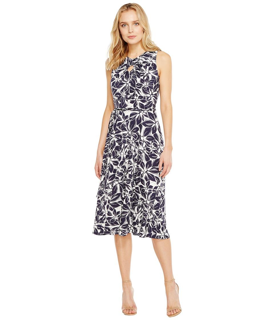 Christin Michaels - Viola Sleeveless Fit and Flare Dress (Navy/Ivory) Women's Dress