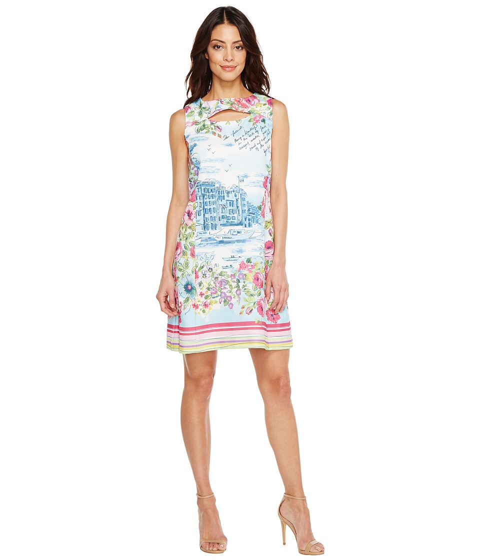 Christin Michaels - Naomi Sleeveless Dress with Open Neck (Blue/Multi) Women's Dress