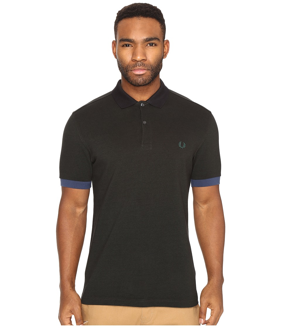 Fred Perry - Color Block Pique Shirt (Hunting Green/Black Oxford) Men's Short Sleeve Knit