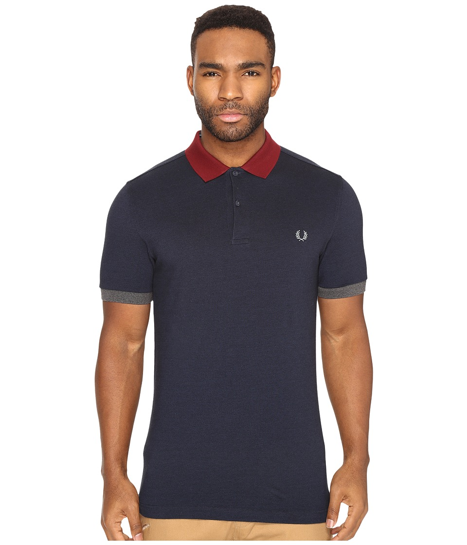 Fred Perry - Color Block Pique Shirt (Service Blue/Black Oxford/White/Black) Men's Short Sleeve Knit