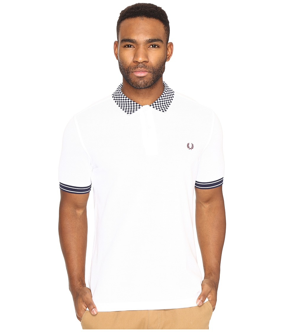Fred Perry - Chequerboard Collar Pique Shirt (White) Men's Clothing