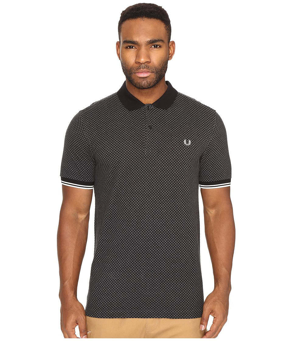 Fred Perry - Chequerboard Print Pique Shirt (Graphite Marl) Men's Clothing