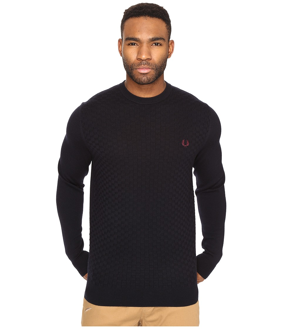 Fred Perry - Oxford Texture Crew Neck (Navy) Men's Clothing