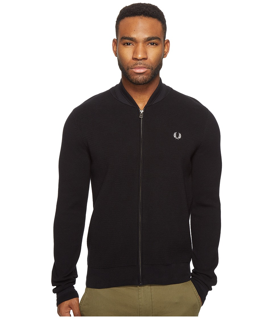 Fred Perry - Bomber Neck Zip Thru Cardigan (Black) Men's Sweater