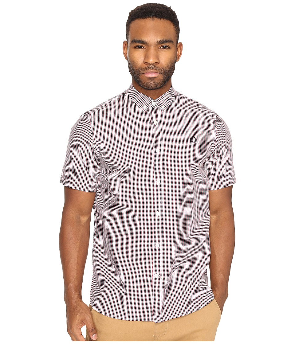 Fred Perry - Three-Colour Basket Weave Shirt (Dark Carbon) Men's Clothing