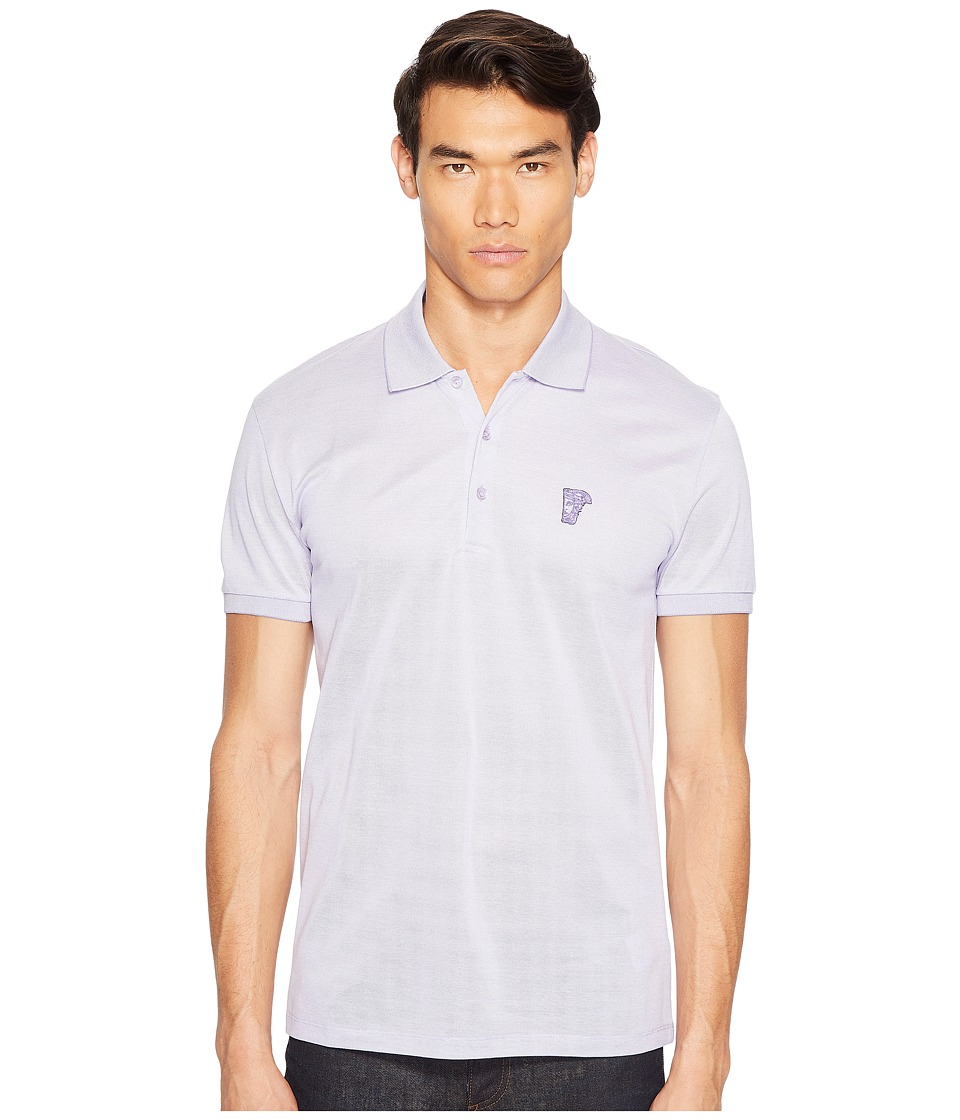 Versace Collection - Polo Shirt (Bianco/Lilla) Men's Short Sleeve Pullover