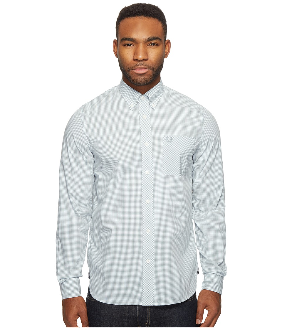 Fred Perry - Classic Gingham Shirt (Silver Blue) Men's Clothing