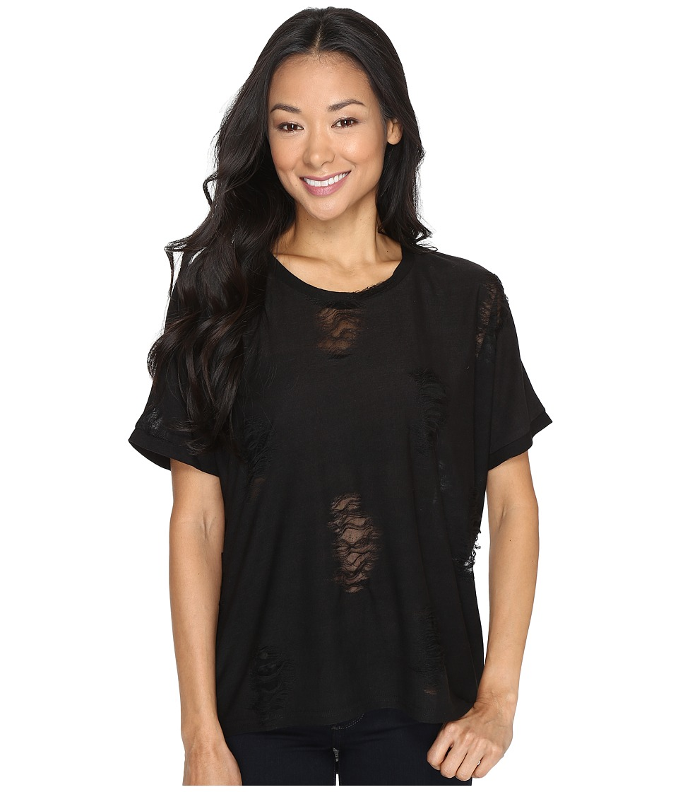 Brigitte Bailey - Caravel Ripped Tee (Black) Women's T Shirt