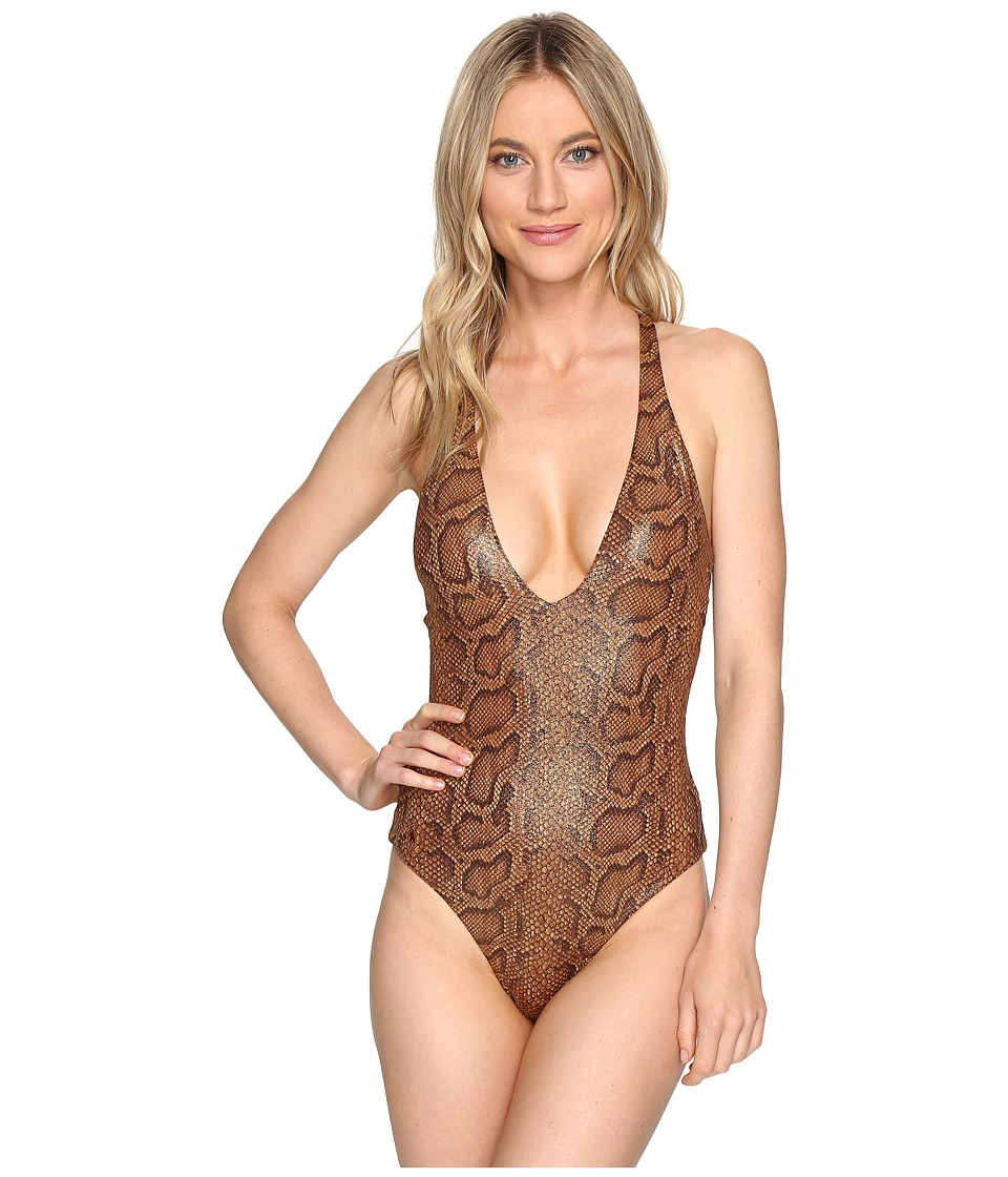 Polo Ralph Lauren - Python Plunge X-Back Mio (Brown) Women's Swimsuits One Piece