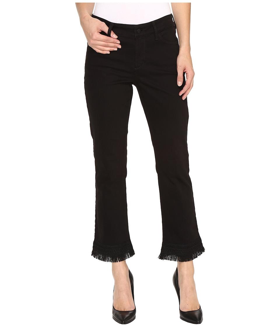 NYDJ - Billie Ankle Bootcut Jeans w/ Fringe Hem in Black (Black) Women's Jeans
