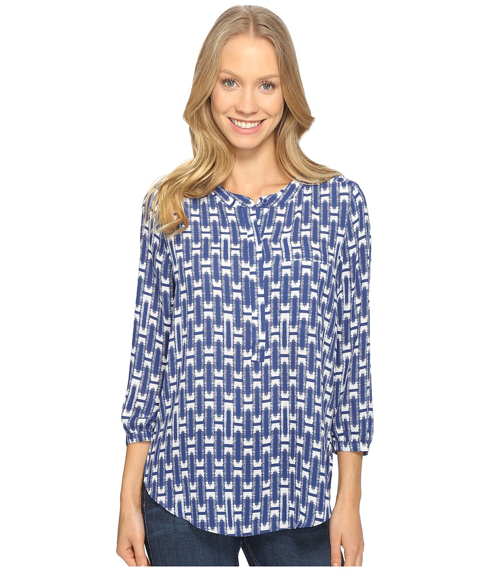 NYDJ - 3/4 Sleeve Pleat Back (Cabana Weave Dark Atlantis) Women's Blouse