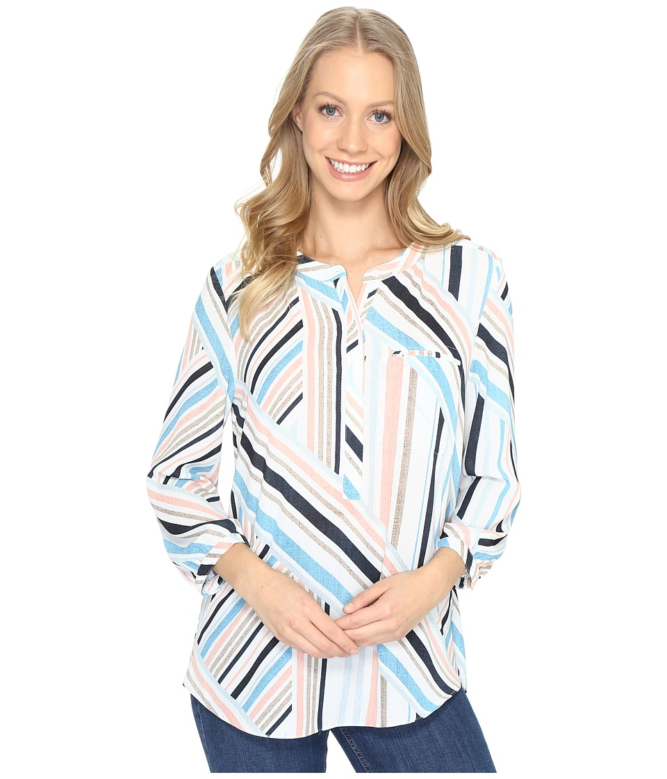 NYDJ - 3/4 Sleeve Pleat Back (Beachfront Stripe Corsica Blue) Women's Blouse