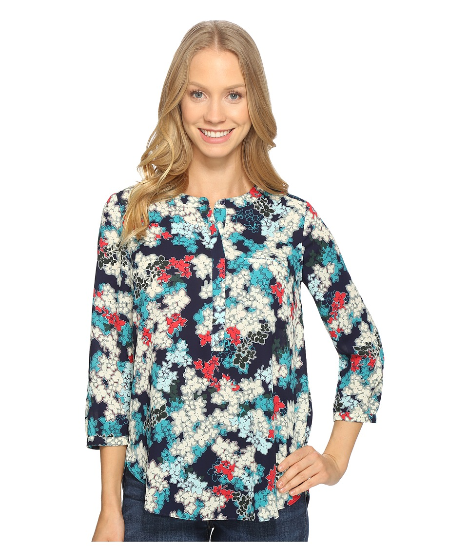 NYDJ - 3/4 Sleeve Pleat Back (Mediterraneo Bloom Dark Atlant) Women's Blouse