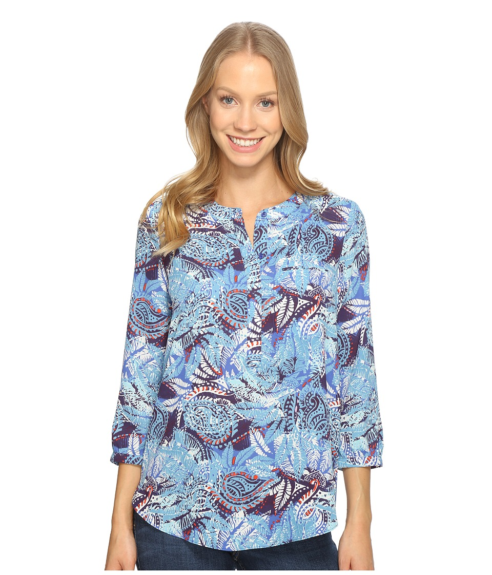 NYDJ - 3/4 Sleeve Pleat Back (Maldives Garden Corsica Blue) Women's Blouse