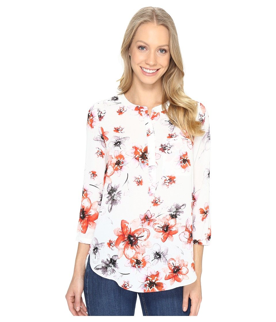 NYDJ - 3/4 Sleeve Pleat Back (Amalfi Floral Sweet Strawberry) Women's Blouse