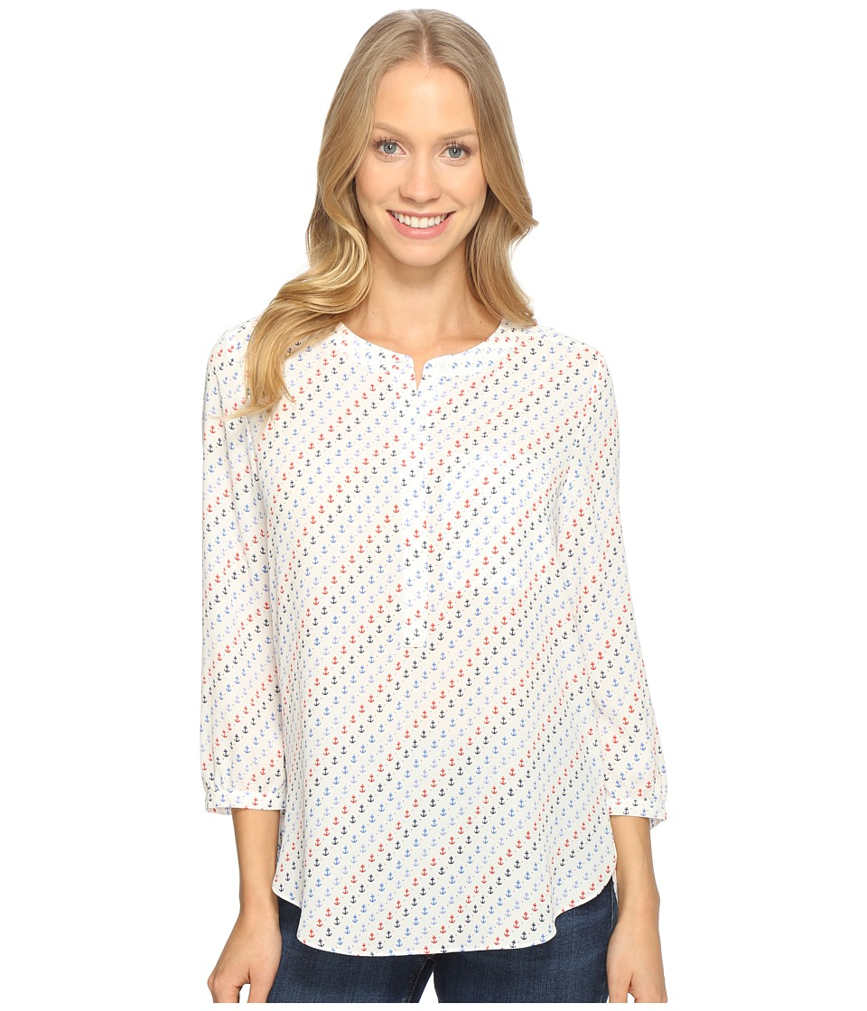 NYDJ - 3/4 Sleeve Pleat Back (Resort Anchors Blue) Women's Blouse