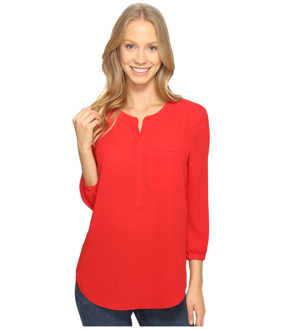 NYDJ - 3/4 Sleeve Pleat Back (Sweet Strawberry) Women's Blouse