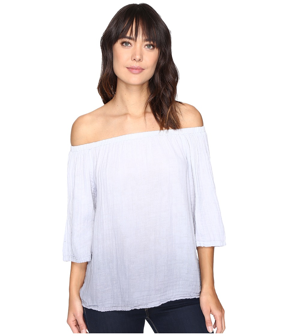 Michael Stars Ombre Wash Double Gauze Off Shoulder Top (Silver Fox) Women