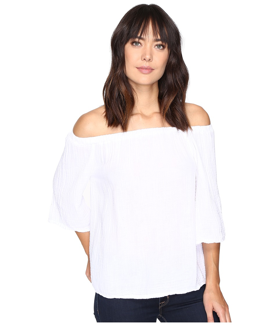 Michael Stars Double Gauze Off Shoulder Top (White) Women