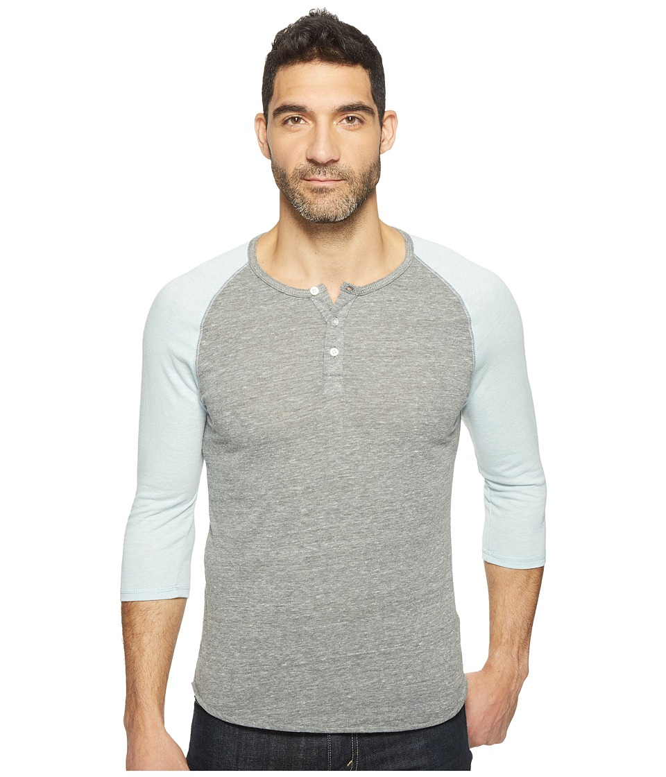 Alternative - 3/4 Raglan Henley (Eco Grey/Eco Mist Blue) Men's Long Sleeve Pullover