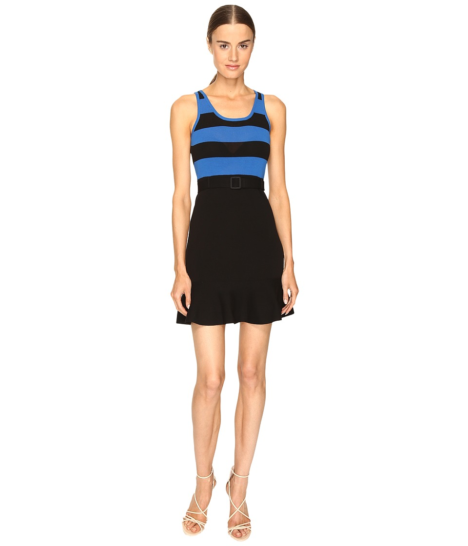 Boutique Moschino - Striped Top Belted Dress (Black/Blue) Women's Dress