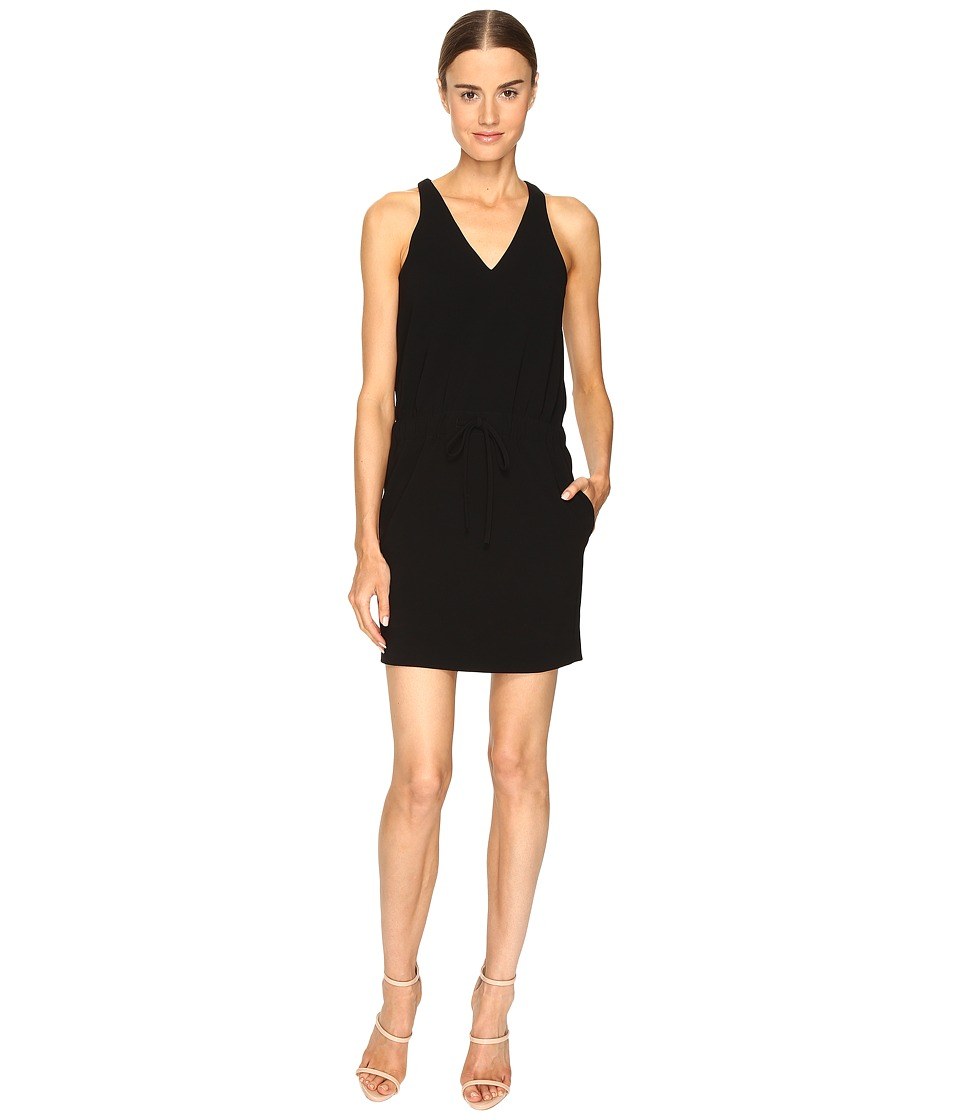 Boutique Moschino - Drawstring V-Neck Dress (Black) Women's Dress